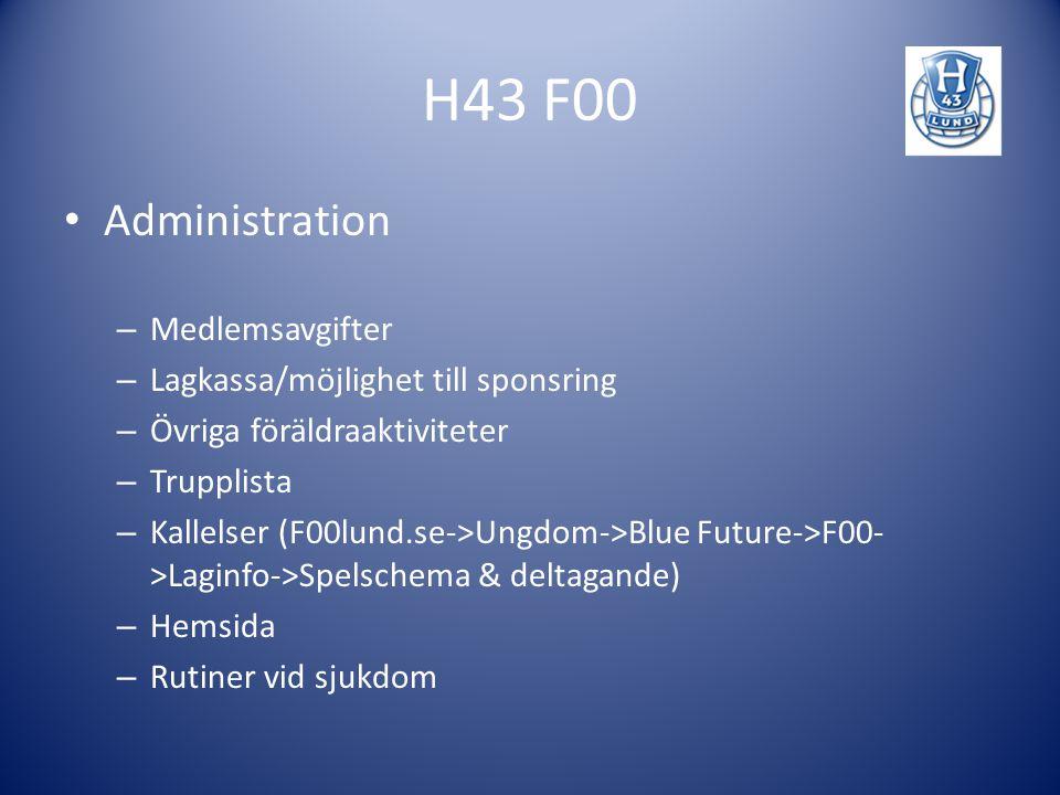 H43 F00 Administration Medlemsavgifter