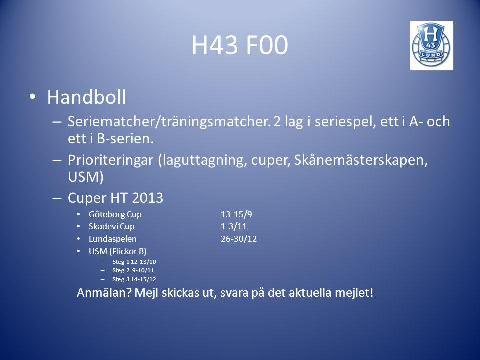 H43 F00 Handboll. Seriematcher/träningsmatcher. 2 lag i seriespel, ett i A- och ett i B-serien.
