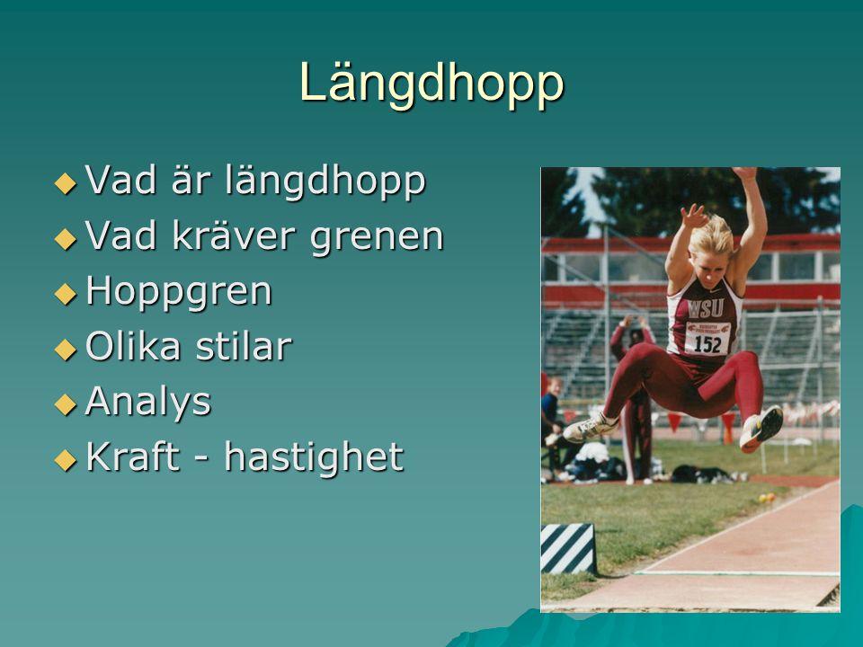 Längdhopp Vad är längdhopp Vad kräver grenen Hoppgren Olika stilar