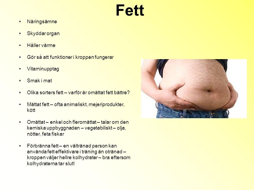Fett Näringsämne Skyddar organ Håller värme