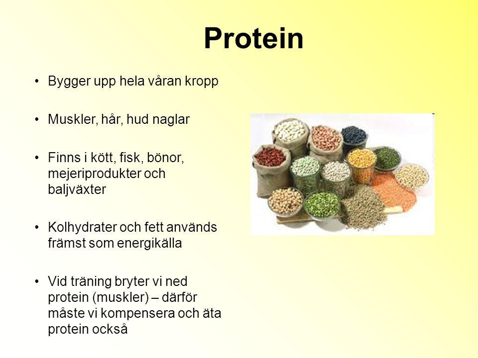 Protein Bygger upp hela våran kropp Muskler, hår, hud naglar