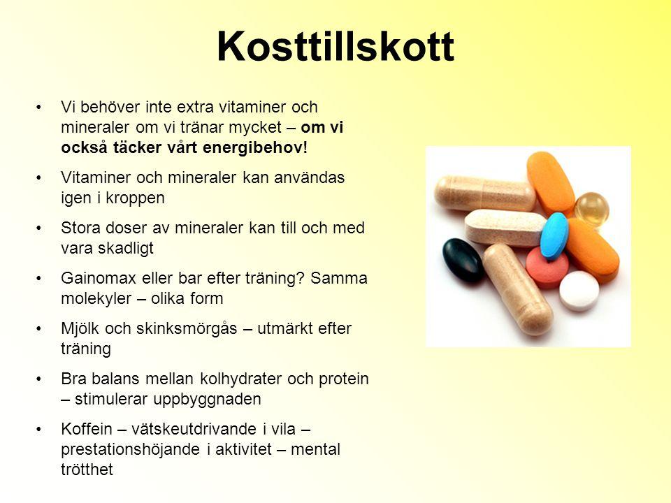 Kosttillskott Vi behöver inte extra vitaminer och mineraler om vi tränar mycket – om vi också täcker vårt energibehov!