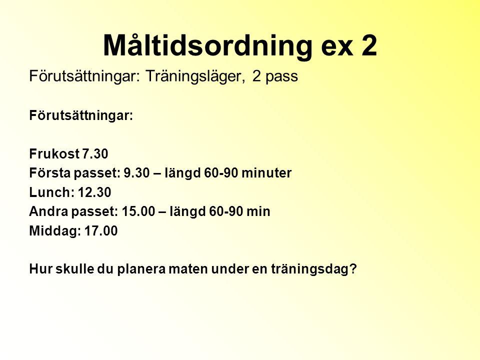 Måltidsordning ex 2 Förutsättningar: Träningsläger, 2 pass