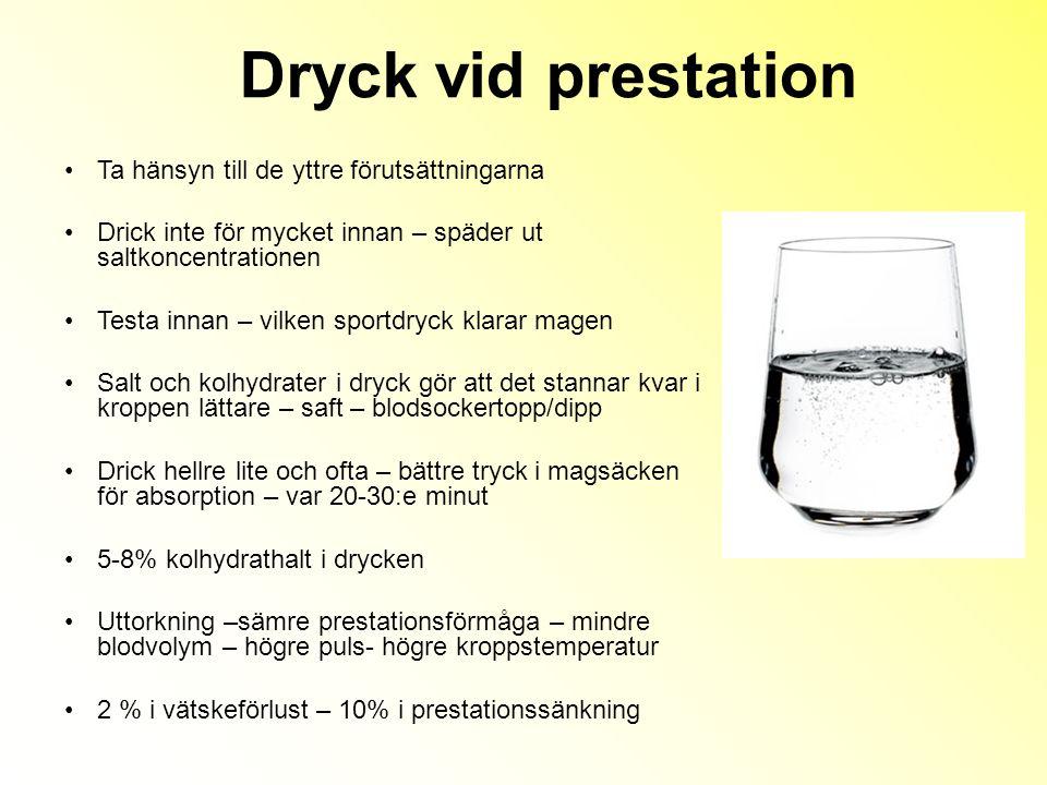 Dryck vid prestation Ta hänsyn till de yttre förutsättningarna