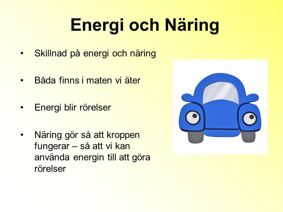 Energi och Näring Skillnad på energi och näring