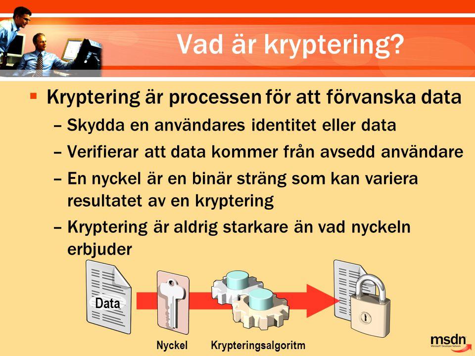 Vad är kryptering Kryptering är processen för att förvanska data