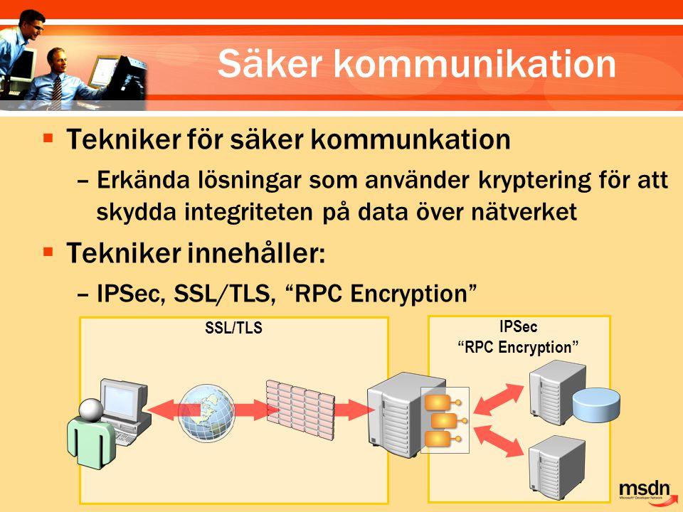 Säker kommunikation Tekniker för säker kommunkation