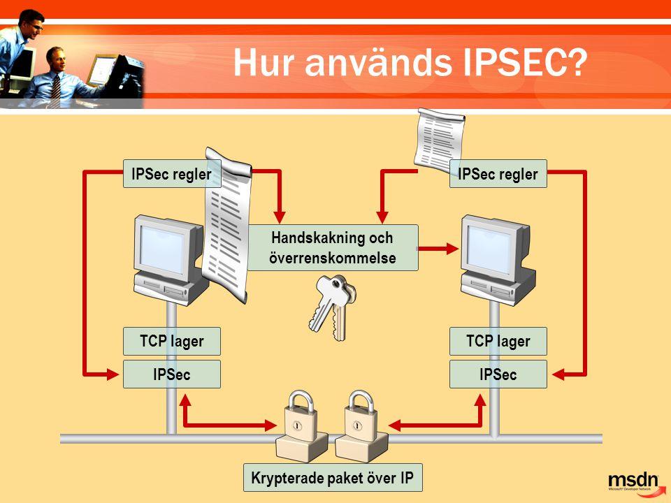 Handskakning och överrenskommelse Krypterade paket över IP