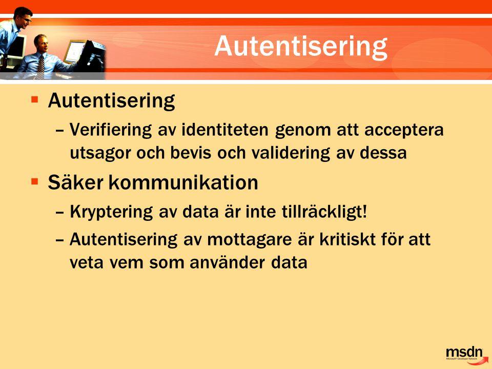 Autentisering Autentisering Säker kommunikation