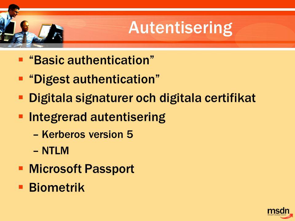 Autentisering Basic authentication Digest authentication