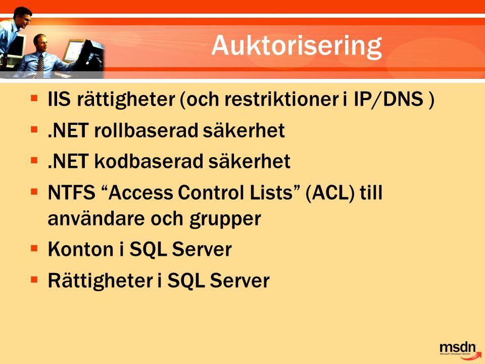 Auktorisering IIS rättigheter (och restriktioner i IP/DNS )