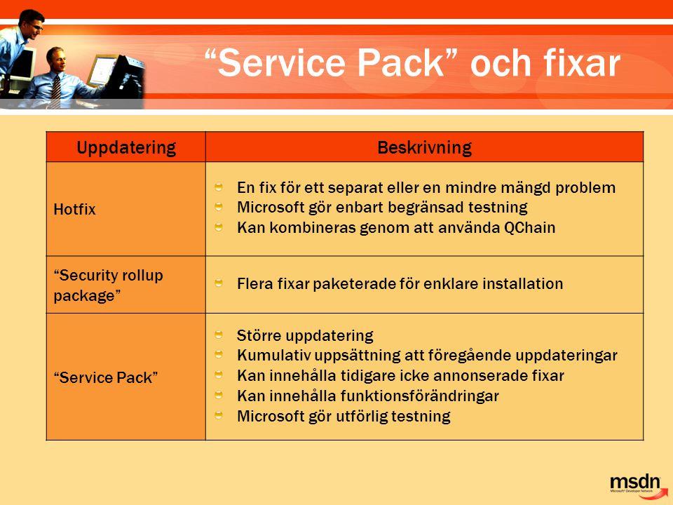 Service Pack och fixar