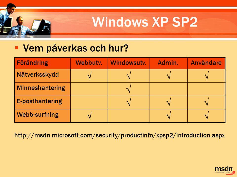 Windows XP SP2 Vem påverkas och hur √