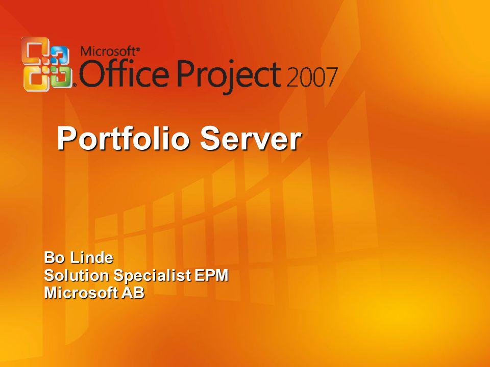 Portfolio Server Bo Linde Solution Specialist EPM Microsoft AB