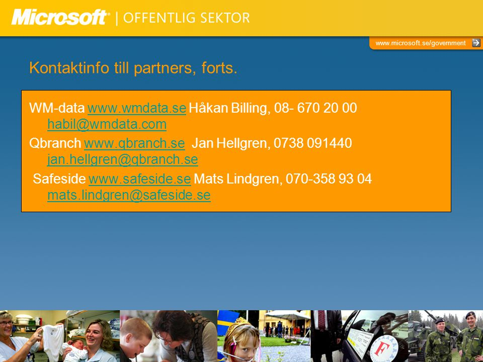 Kontaktinfo till partners, forts.