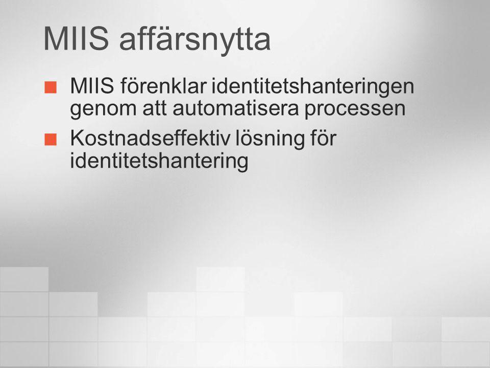 4/6/2017 4:30 AM MIIS affärsnytta. MIIS förenklar identitetshanteringen genom att automatisera processen.