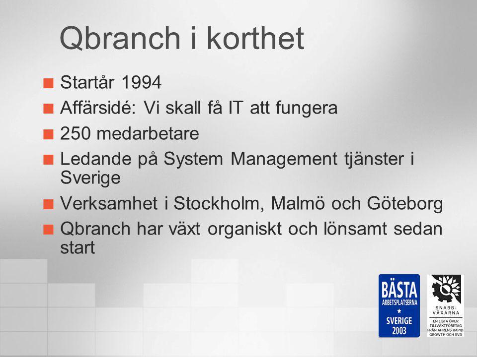 Qbranch i korthet Startår 1994 Affärsidé: Vi skall få IT att fungera
