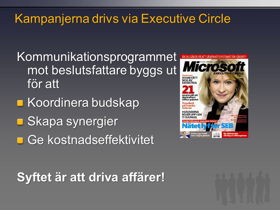 Kampanjerna drivs via Executive Circle