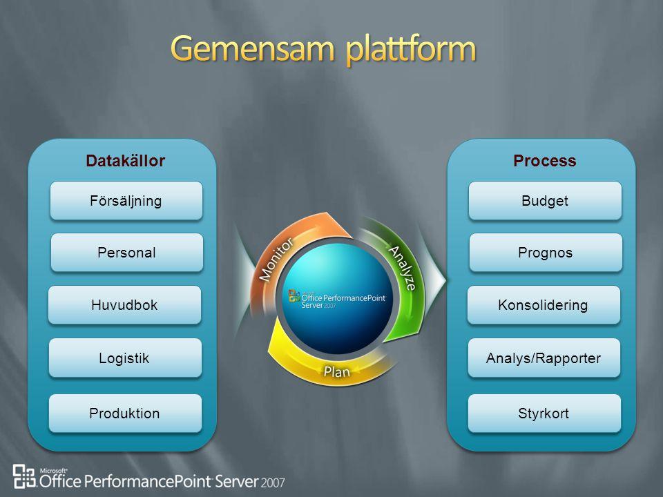 Gemensam plattform Datakällor Process Försäljning Budget Personal