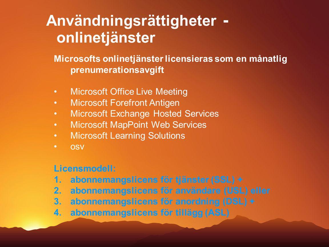 Användningsrättigheter - onlinetjänster