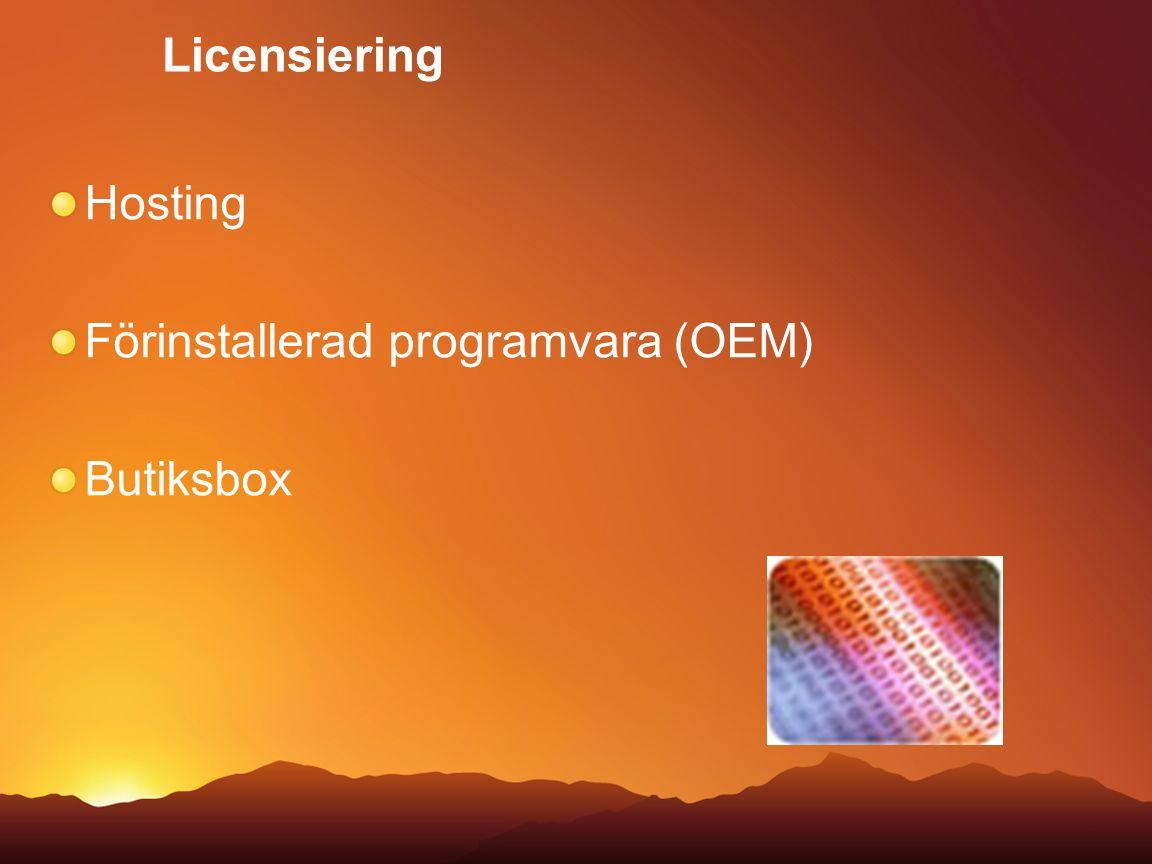 Licensiering Hosting Förinstallerad programvara (OEM) Butiksbox