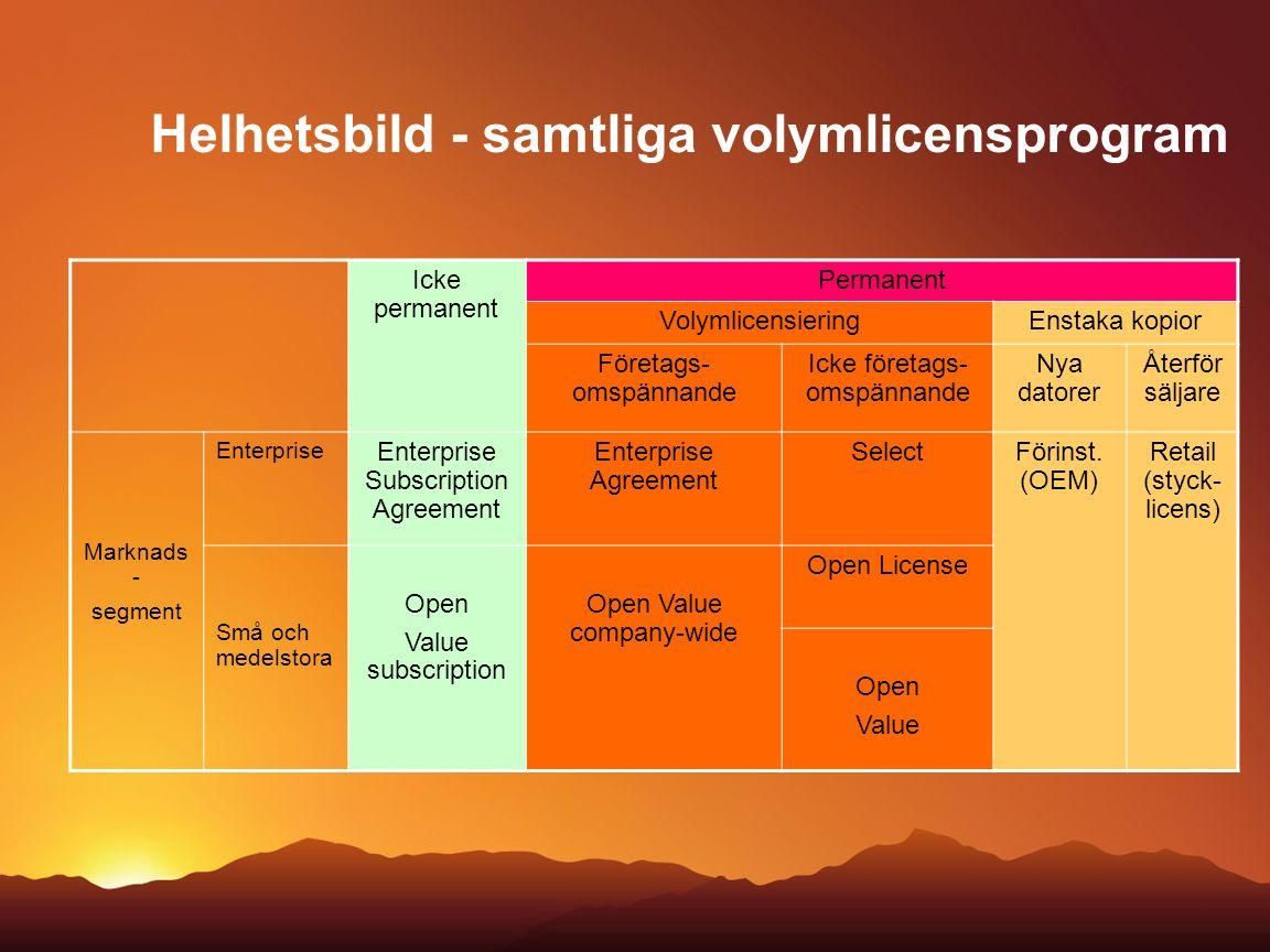 Helhetsbild - samtliga volymlicensprogram