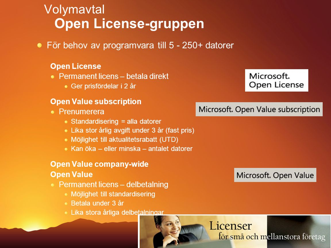 Volymavtal Open License-gruppen