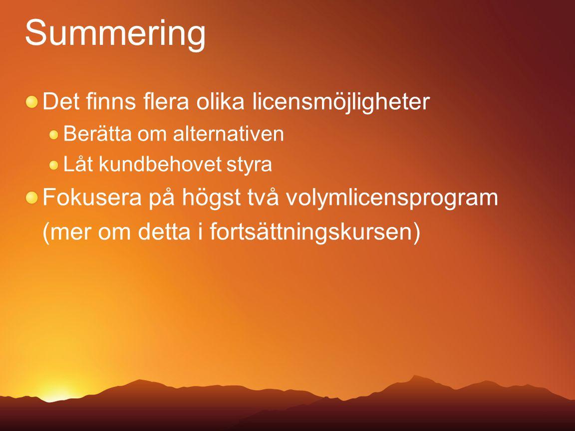 Summering Det finns flera olika licensmöjligheter
