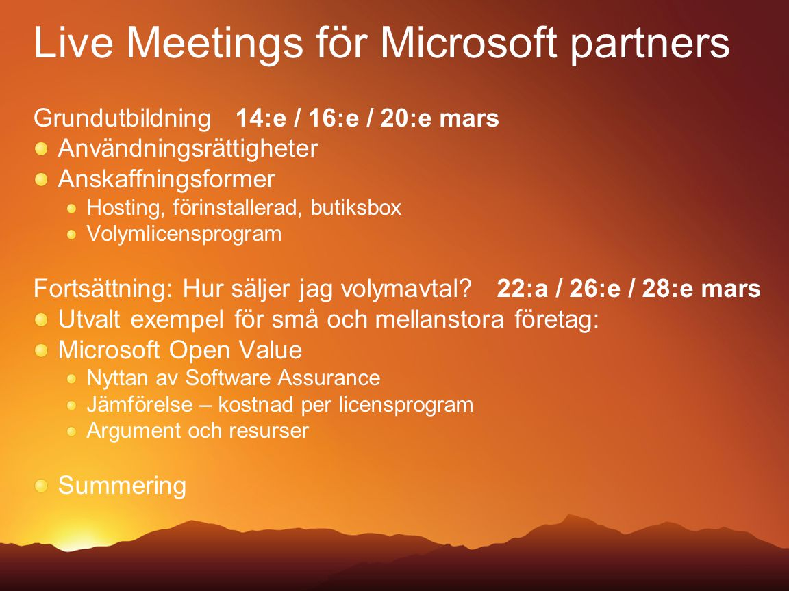 Live Meetings för Microsoft partners