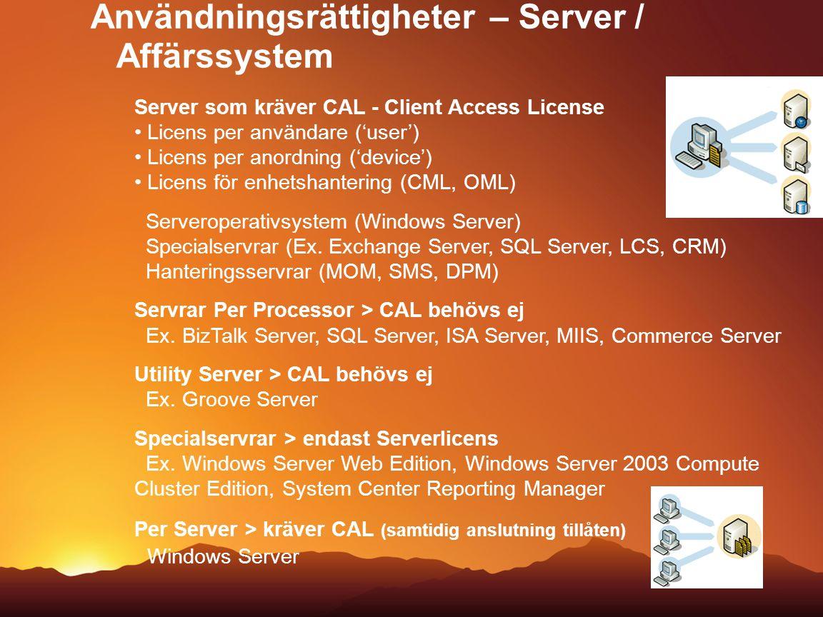 Användningsrättigheter – Server / Affärssystem