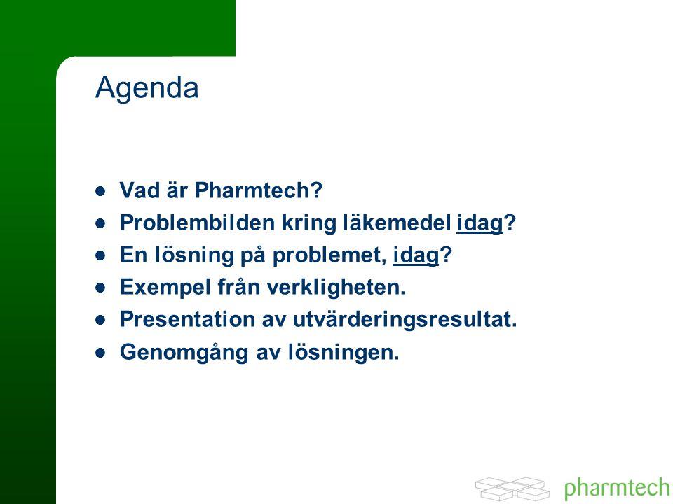 Agenda Vad är Pharmtech Problembilden kring läkemedel idag