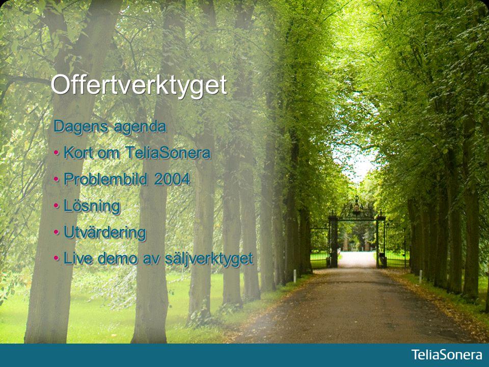 Offertverktyget Dagens agenda Kort om TeliaSonera Problembild 2004