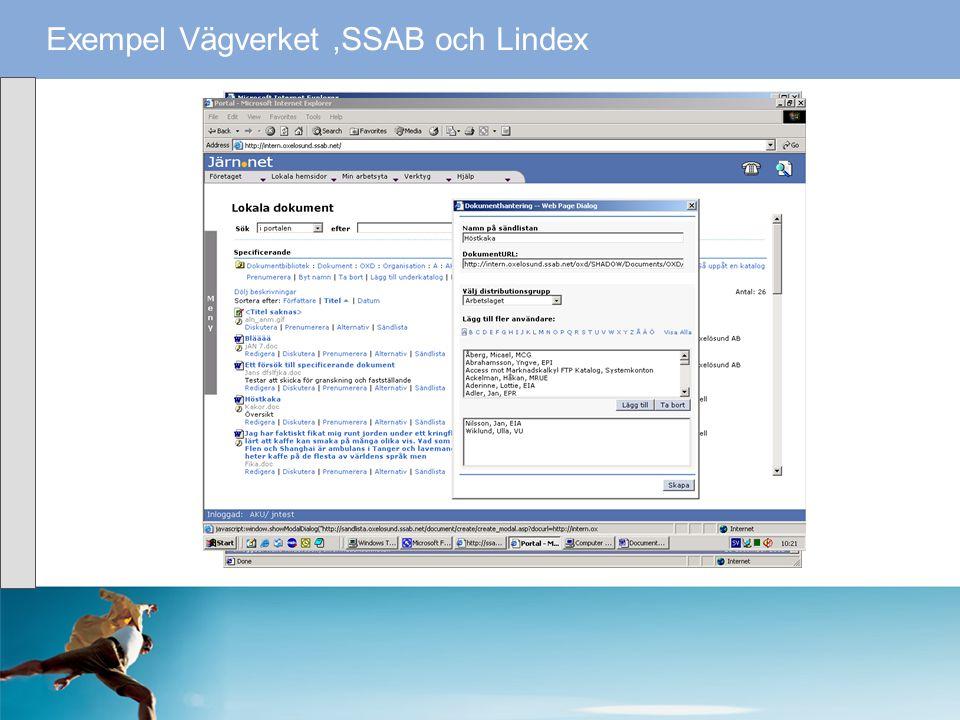 Exempel Vägverket ,SSAB och Lindex