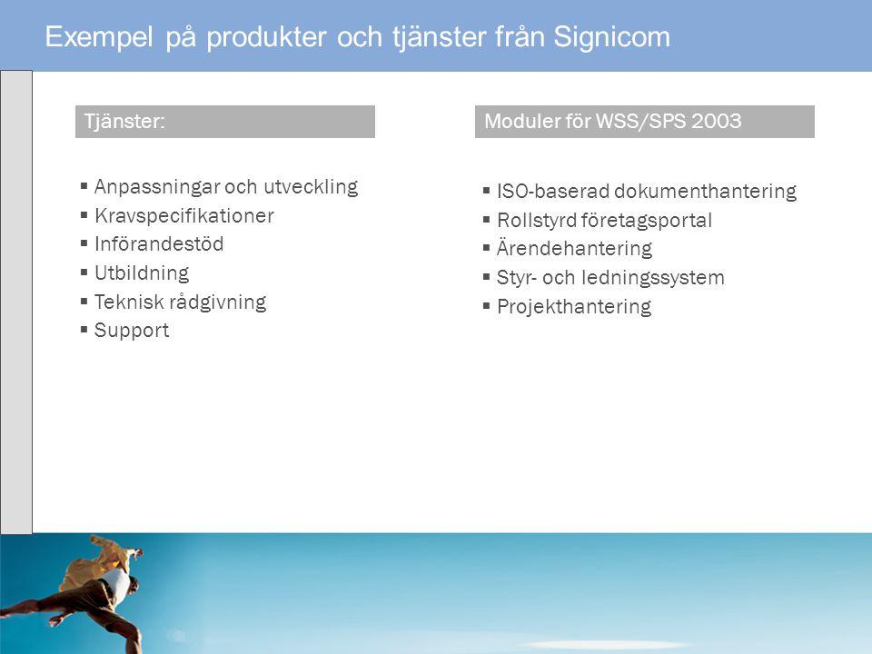 Exempel på produkter och tjänster från Signicom