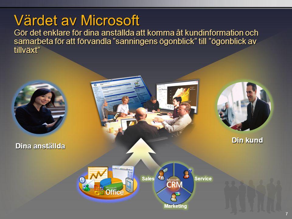 Värdet av Microsoft Gör det enklare för dina anställda att komma åt kundinformation och samarbeta för att förvandla sanningens ögonblick till ögonblick av tillväxt