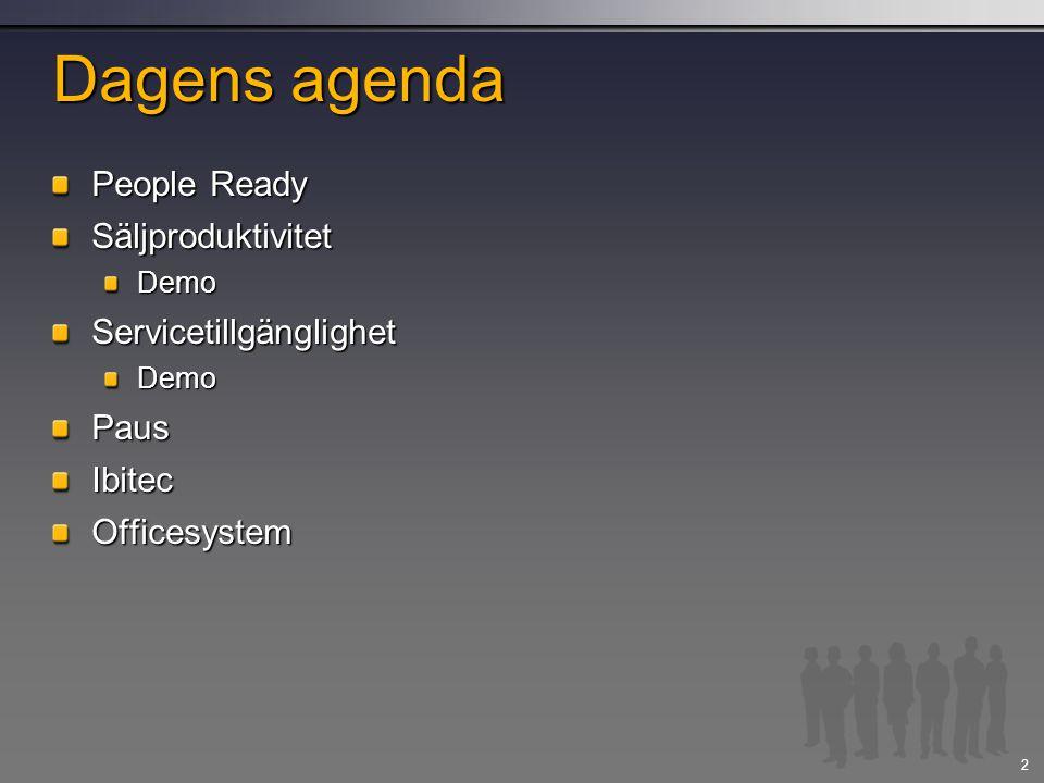 Dagens agenda People Ready Säljproduktivitet Servicetillgänglighet