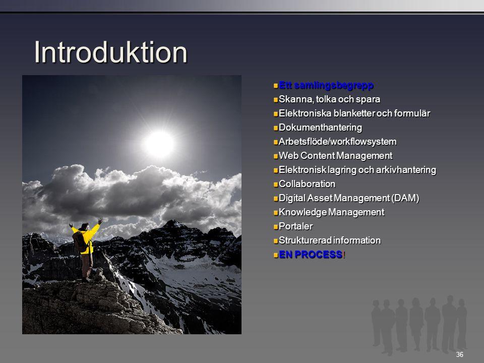 Introduktion Ett samlingsbegrepp Skanna, tolka och spara