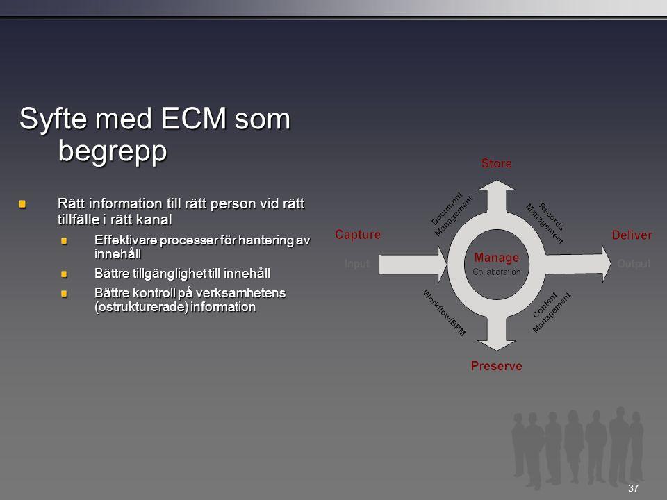 Syfte med ECM som begrepp