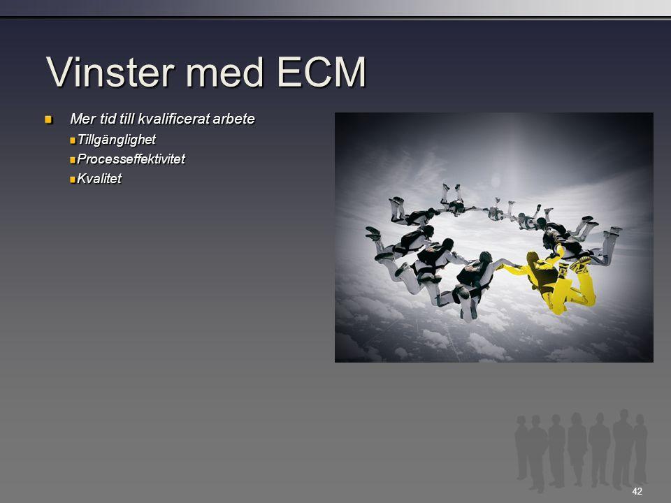 Vinster med ECM Mer tid till kvalificerat arbete Tillgänglighet