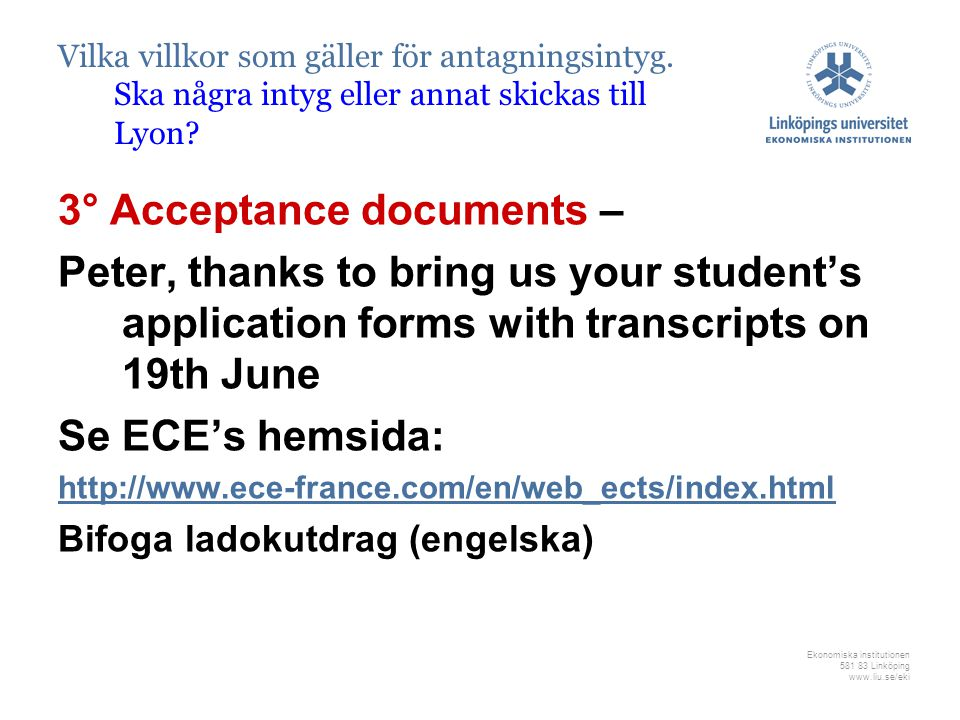 3° Acceptance documents –