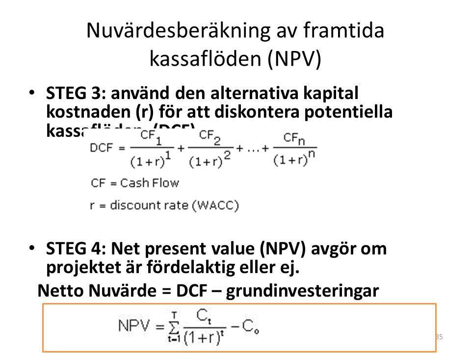 Nuvärdesberäkning av framtida kassaflöden (NPV)