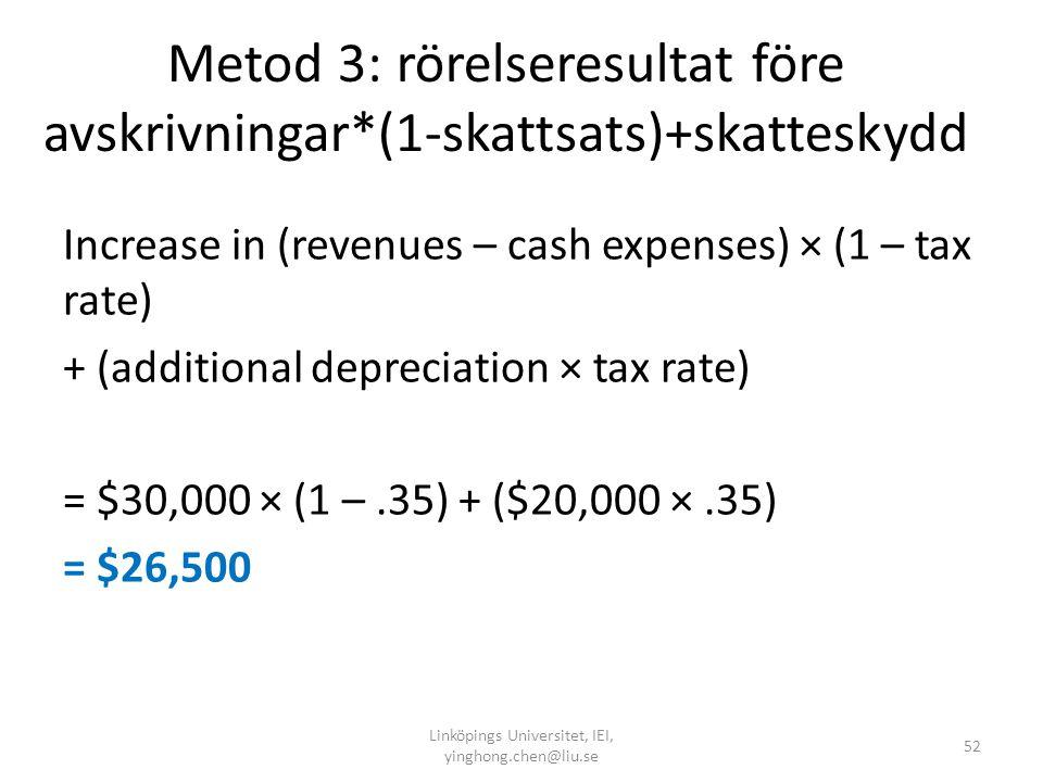Metod 3: rörelseresultat före avskrivningar*(1-skattsats)+skatteskydd
