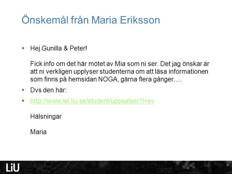 Önskemål från Maria Eriksson