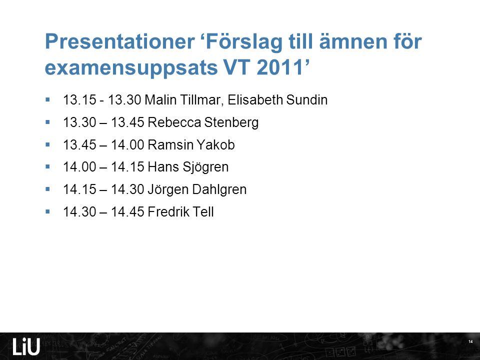 Presentationer 'Förslag till ämnen för examensuppsats VT 2011'