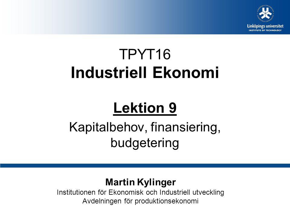 TPYT16 Industriell Ekonomi