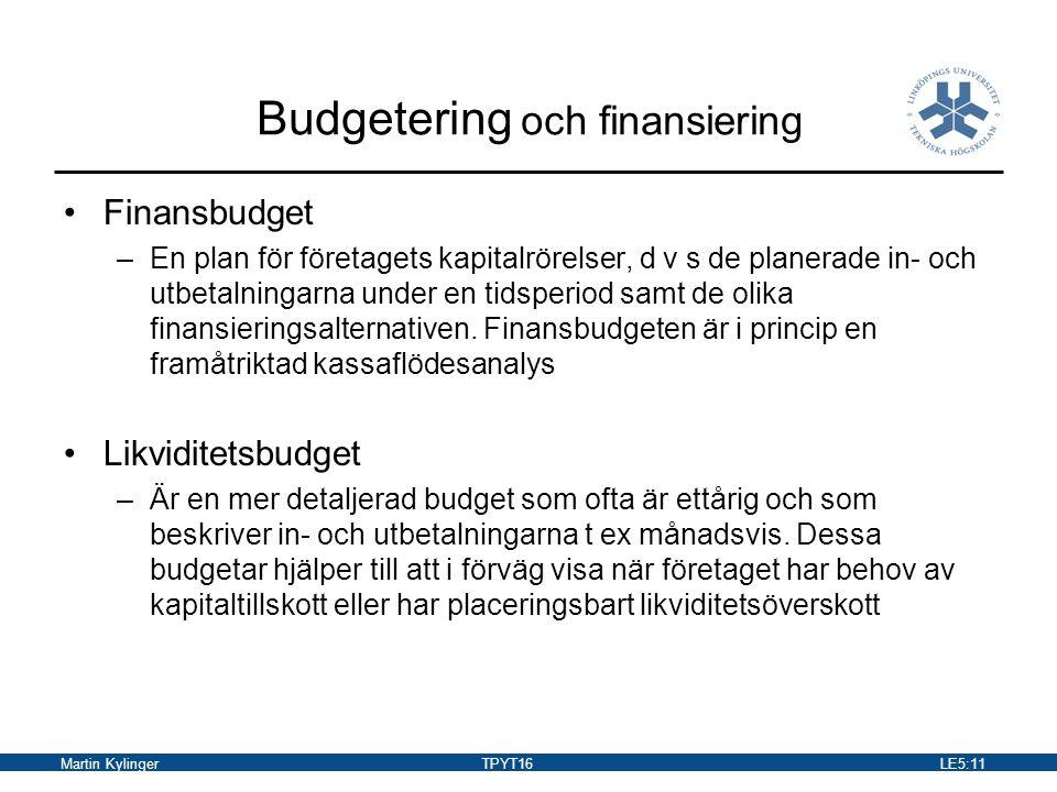 Budgetering och finansiering