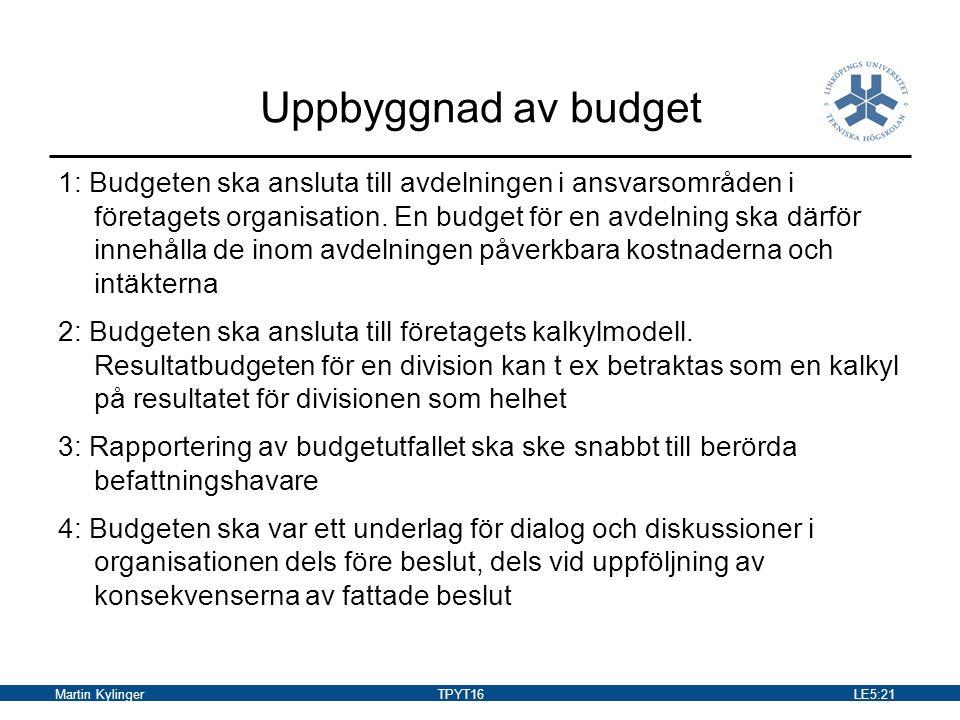 Uppbyggnad av budget