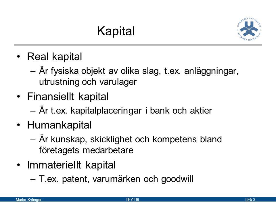 Kapital Real kapital Finansiellt kapital Humankapital