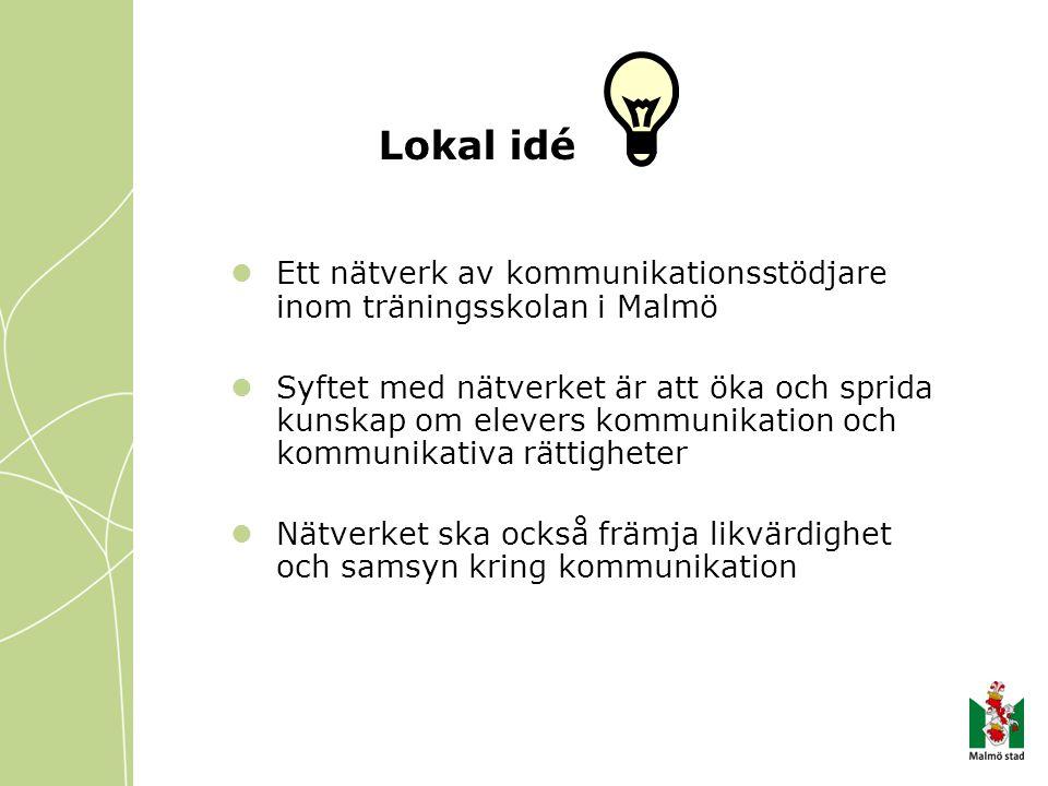 Lokal idé Ett nätverk av kommunikationsstödjare inom träningsskolan i Malmö.