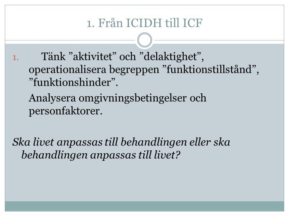 1. Från ICIDH till ICF Tänk aktivitet och delaktighet , operationalisera begreppen funktionstillstånd , funktionshinder .
